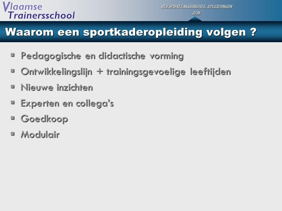 VTS SPORTTAKGERICHTE OPLEIDINGEN 2/38 Waarom een sportkaderopleiding volgen ?  Pedagogische en didactische vorming  Ontwikkelingslijn + trainingsgev