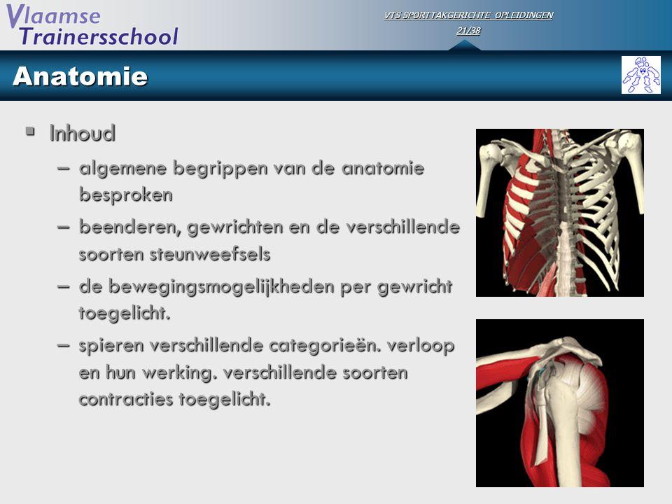 VTS SPORTTAKGERICHTE OPLEIDINGEN 21/38 Anatomie  Inhoud –algemene begrippen van de anatomie besproken –beenderen, gewrichten en de verschillende soor