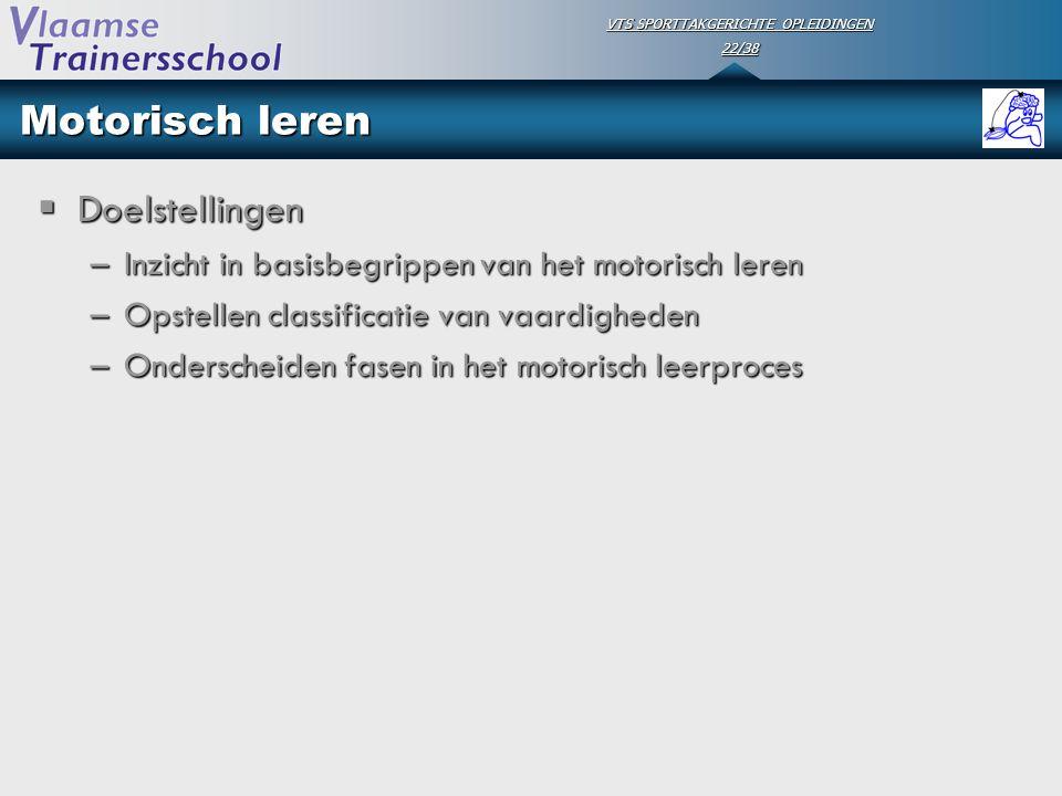 VTS SPORTTAKGERICHTE OPLEIDINGEN 22/38 Motorisch leren  Doelstellingen –Inzicht in basisbegrippen van het motorisch leren –Opstellen classificatie va