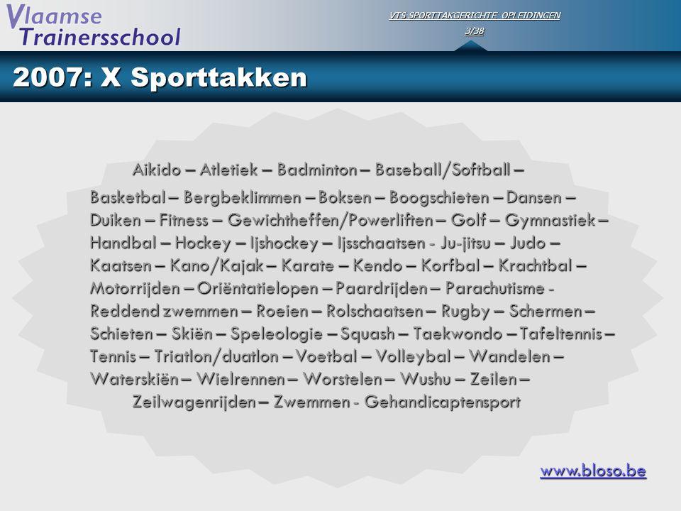 VTS SPORTTAKGERICHTE OPLEIDINGEN 3/38 2007: X Sporttakken Aikido – Atletiek – Badminton – Baseball/Softball – Basketbal – Bergbeklimmen – Boksen – Boo