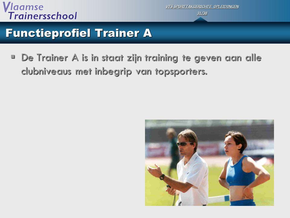 VTS SPORTTAKGERICHTE OPLEIDINGEN 31/38 Functieprofiel Trainer A  De Trainer A is in staat zijn training te geven aan alle clubniveaus met inbegrip va