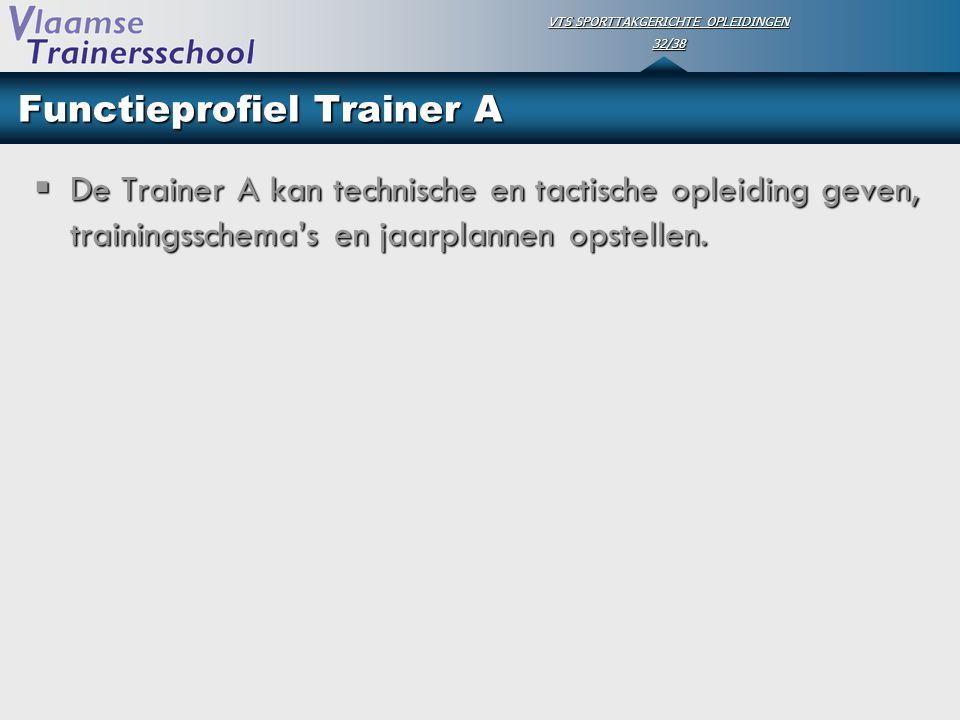 VTS SPORTTAKGERICHTE OPLEIDINGEN 32/38 Functieprofiel Trainer A  De Trainer A kan technische en tactische opleiding geven, trainingsschema's en jaarp