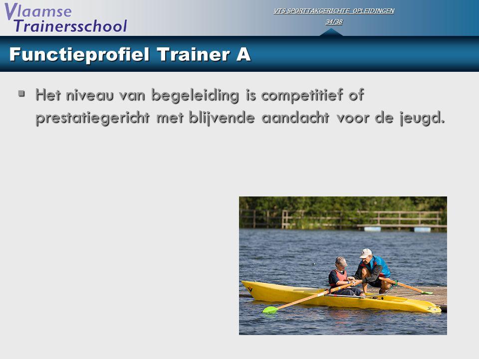 VTS SPORTTAKGERICHTE OPLEIDINGEN 34/38 Functieprofiel Trainer A  Het niveau van begeleiding is competitief of prestatiegericht met blijvende aandacht