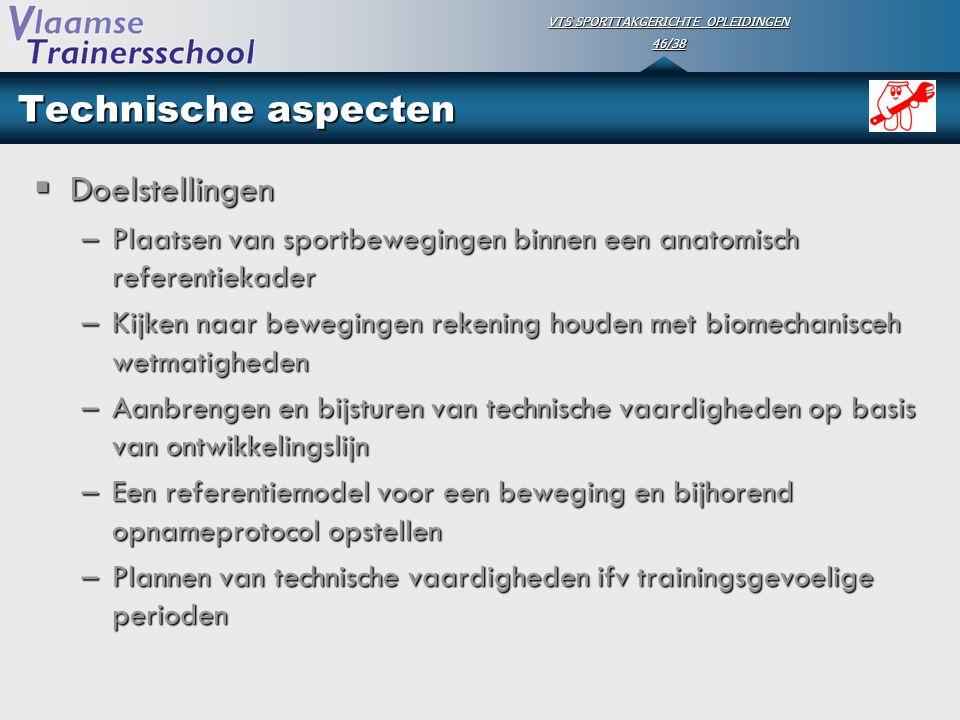 VTS SPORTTAKGERICHTE OPLEIDINGEN 46/38 Technische aspecten  Doelstellingen –Plaatsen van sportbewegingen binnen een anatomisch referentiekader –Kijke