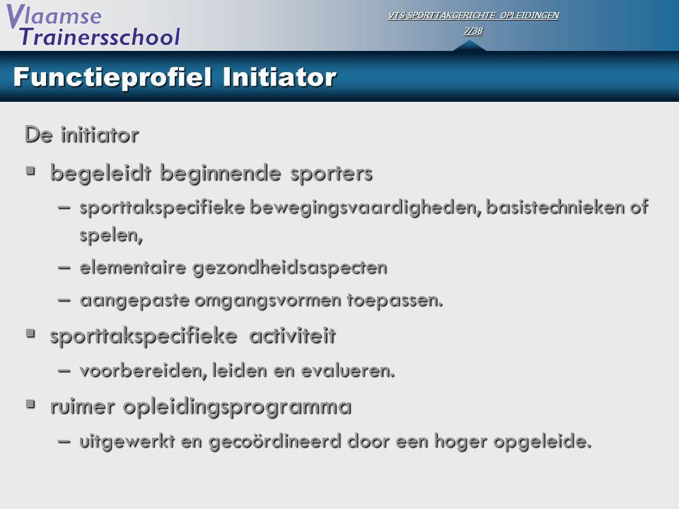 VTS SPORTTAKGERICHTE OPLEIDINGEN 7/38 Functieprofiel Initiator De initiator  begeleidt beginnende sporters –sporttakspecifieke bewegingsvaardigheden,