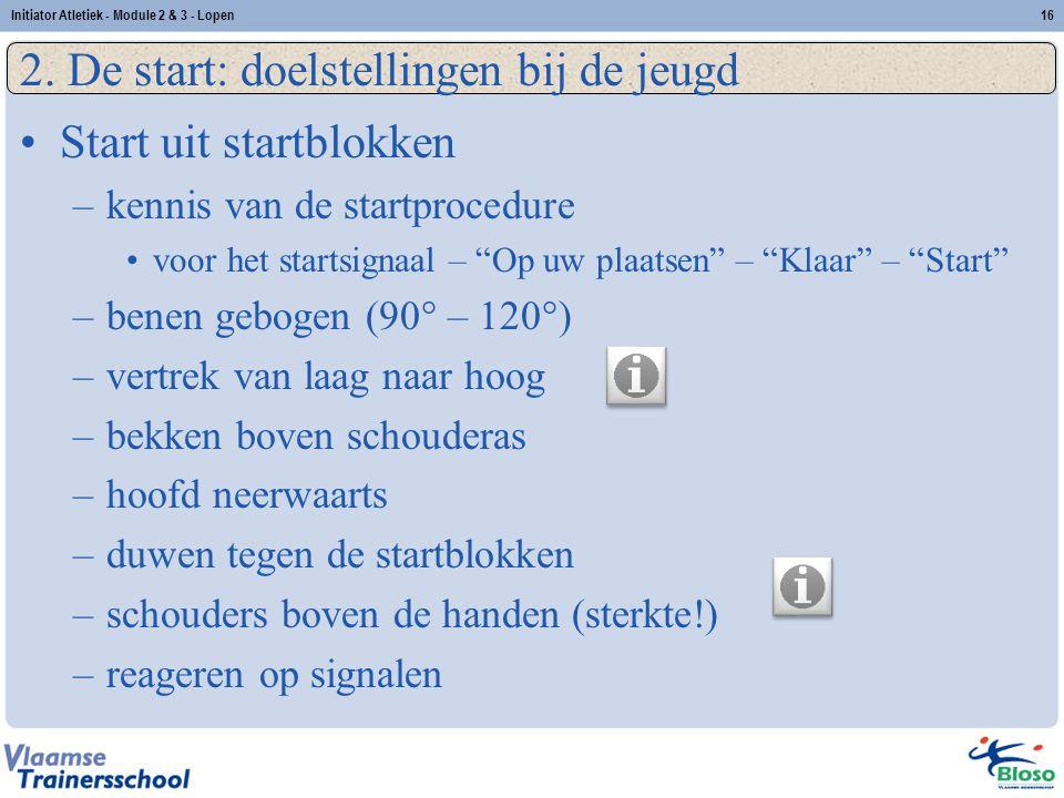 """16 2. De start: doelstellingen bij de jeugd Start uit startblokken –kennis van de startprocedure voor het startsignaal – """"Op uw plaatsen"""" – """"Klaar"""" –"""