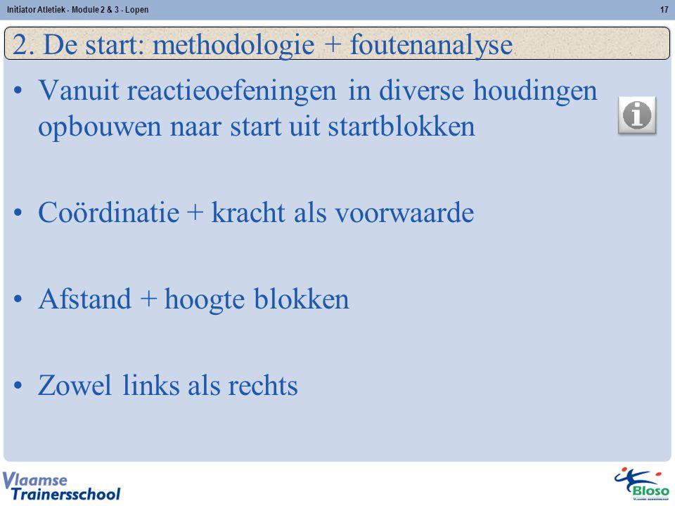 17 2. De start: methodologie + foutenanalyse Vanuit reactieoefeningen in diverse houdingen opbouwen naar start uit startblokken Coördinatie + kracht a