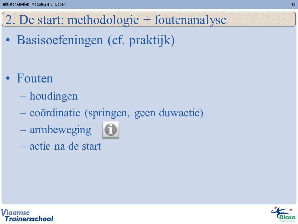 18 2. De start: methodologie + foutenanalyse Basisoefeningen (cf. praktijk) Fouten –houdingen –coördinatie (springen, geen duwactie) –armbeweging –act