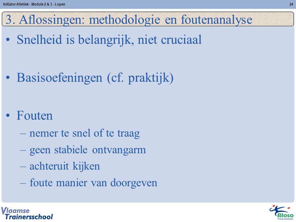 24 3. Aflossingen: methodologie en foutenanalyse Snelheid is belangrijk, niet cruciaal Basisoefeningen (cf. praktijk) Fouten –nemer te snel of te traa