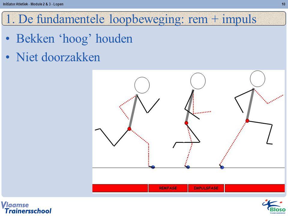 10 1. De fundamentele loopbeweging: rem + impuls Bekken 'hoog' houden Niet doorzakken Initiator Atletiek - Module 2 & 3 - Lopen
