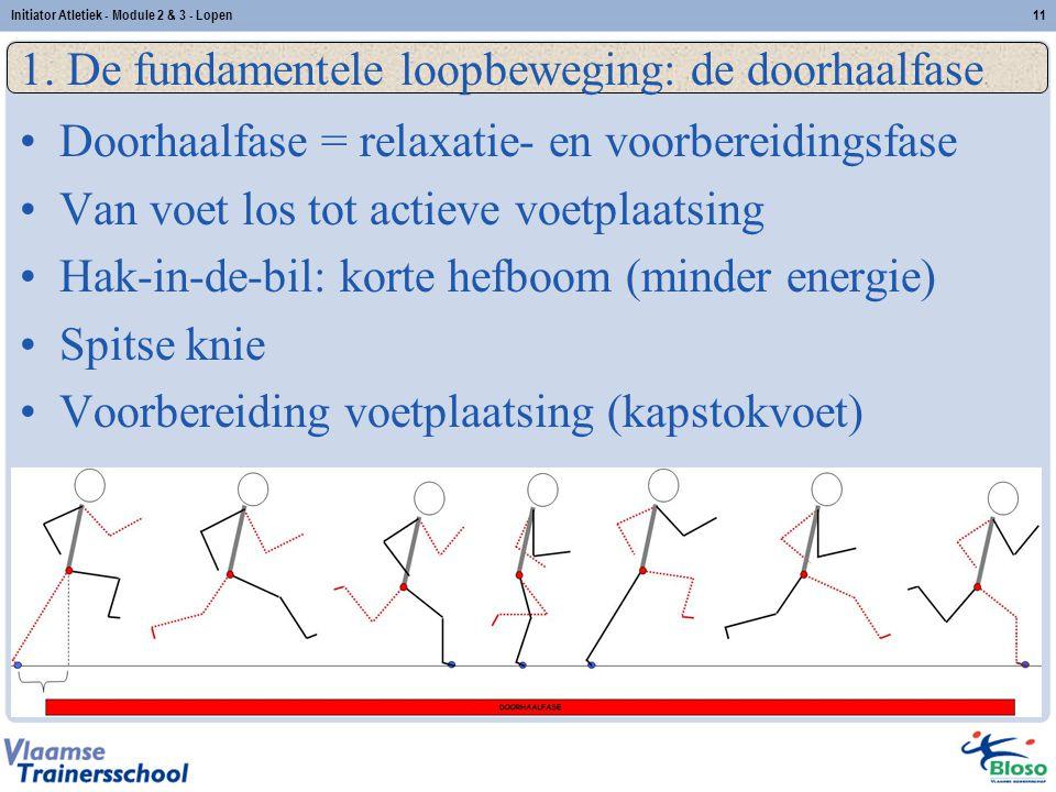 11 1. De fundamentele loopbeweging: de doorhaalfase Doorhaalfase = relaxatie- en voorbereidingsfase Van voet los tot actieve voetplaatsing Hak-in-de-b