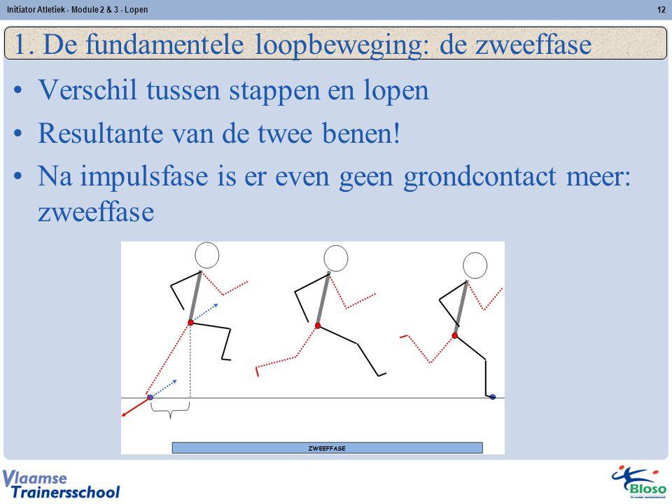 12 1. De fundamentele loopbeweging: de zweeffase Verschil tussen stappen en lopen Resultante van de twee benen! Na impulsfase is er even geen grondcon