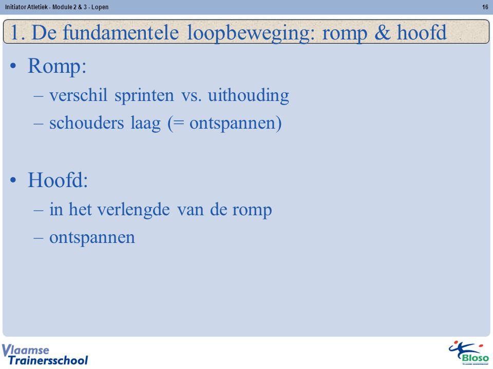 16 1. De fundamentele loopbeweging: romp & hoofd Romp: –verschil sprinten vs. uithouding –schouders laag (= ontspannen) Hoofd: –in het verlengde van d