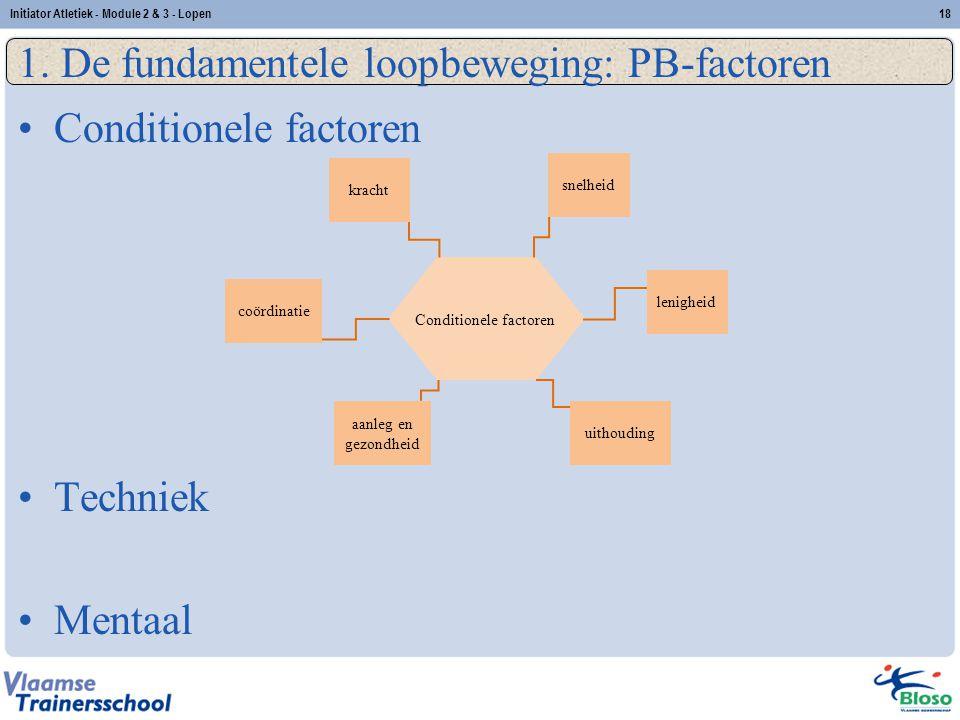 18 1. De fundamentele loopbeweging: PB-factoren Conditionele factoren Techniek Mentaal Initiator Atletiek - Module 2 & 3 - Lopen snelheid kracht lenig