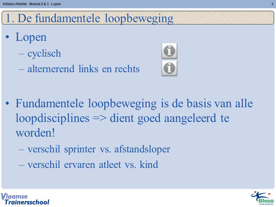 5 1. De fundamentele loopbeweging Lopen –cyclisch –alternerend links en rechts Fundamentele loopbeweging is de basis van alle loopdisciplines => dient