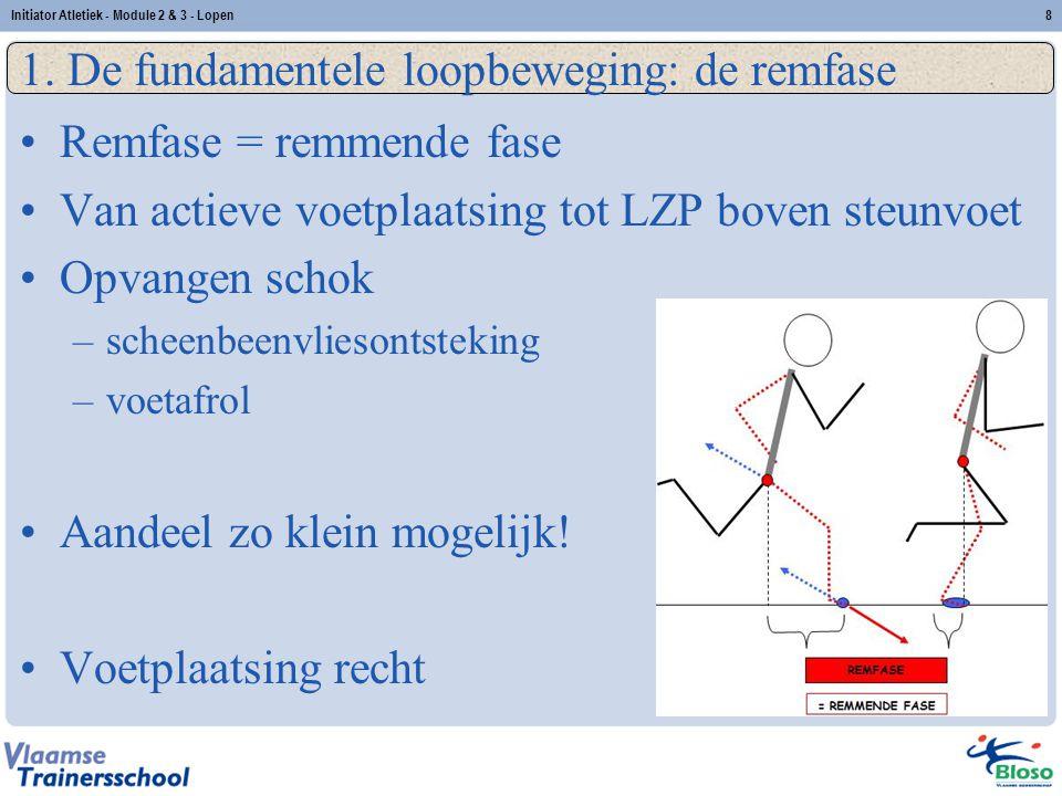 8 1. De fundamentele loopbeweging: de remfase Remfase = remmende fase Van actieve voetplaatsing tot LZP boven steunvoet Opvangen schok –scheenbeenvlie