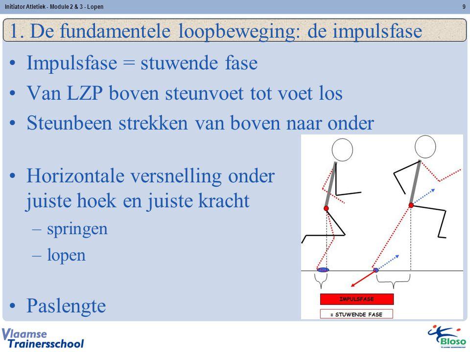 9 1. De fundamentele loopbeweging: de impulsfase Impulsfase = stuwende fase Van LZP boven steunvoet tot voet los Steunbeen strekken van boven naar ond
