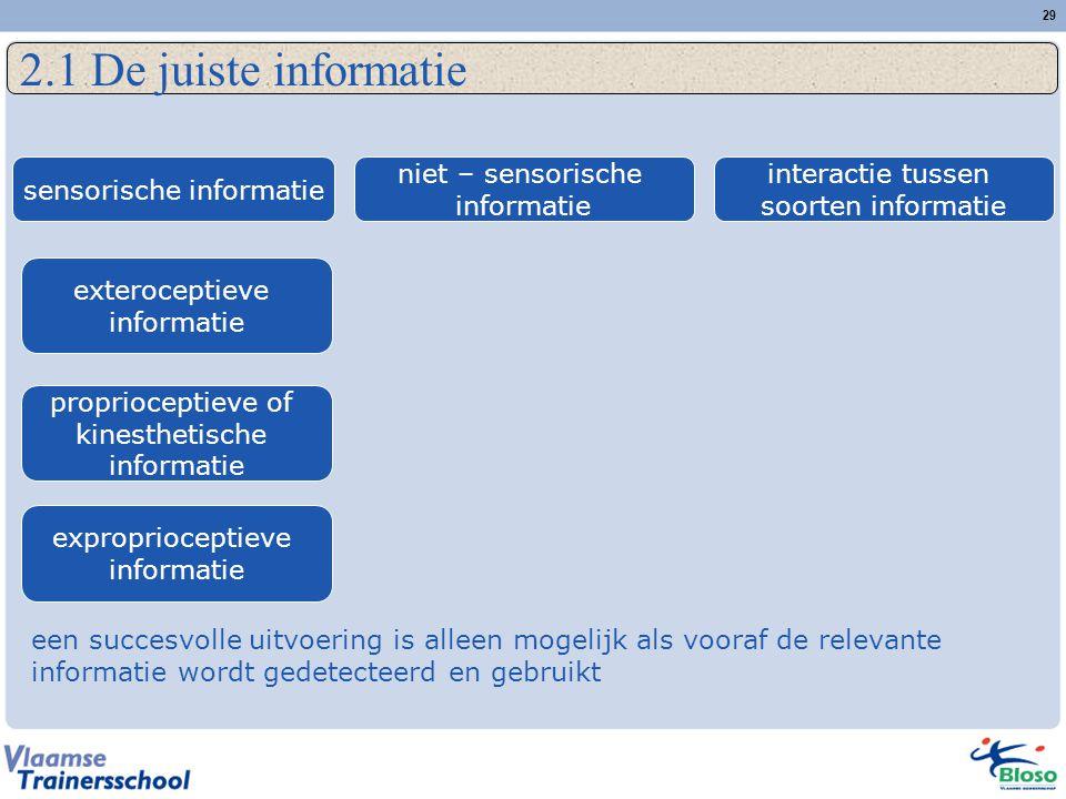 29 2.1 De juiste informatie een succesvolle uitvoering is alleen mogelijk als vooraf de relevante informatie wordt gedetecteerd en gebruikt sensorisch