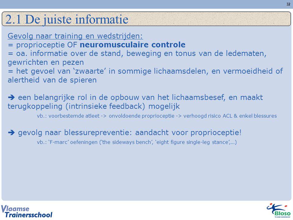 32 2.1 De juiste informatie Gevolg naar training en wedstrijden: = proprioceptie OF neuromusculaire controle = oa. informatie over de stand, beweging