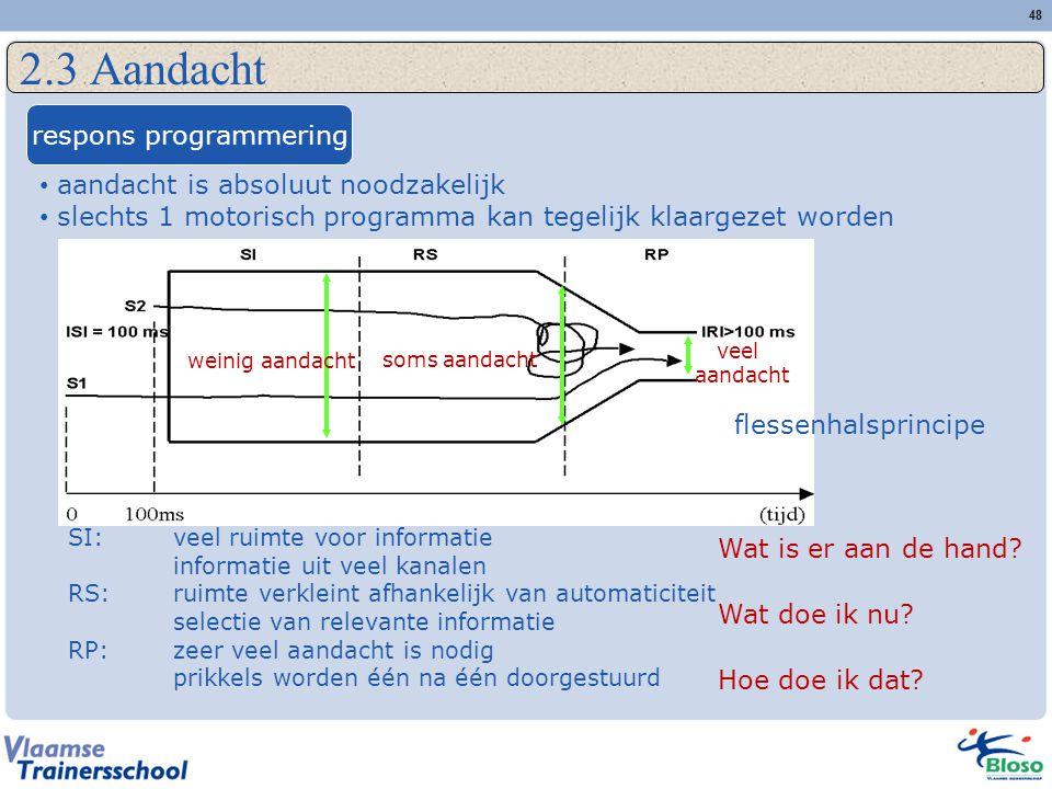 48 2.3 Aandacht respons programmering aandacht is absoluut noodzakelijk slechts 1 motorisch programma kan tegelijk klaargezet worden SI:veel ruimte vo