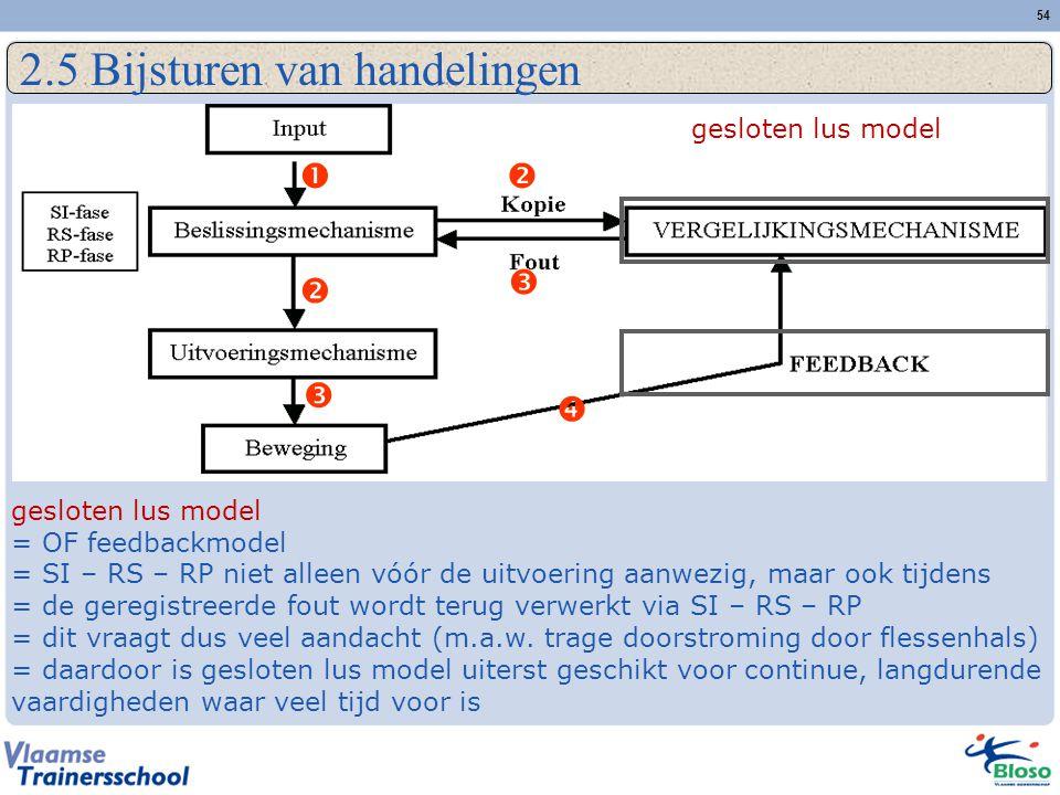 54 2.5 Bijsturen van handelingen       gesloten lus model = OF feedbackmodel = SI – RS – RP niet alleen vóór de uitvoering aanwezig, maar ook ti