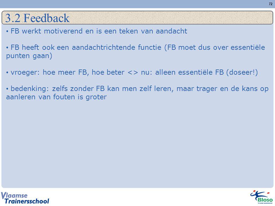 72 3.2 Feedback FB werkt motiverend en is een teken van aandacht FB heeft ook een aandachtrichtende functie (FB moet dus over essentiële punten gaan)