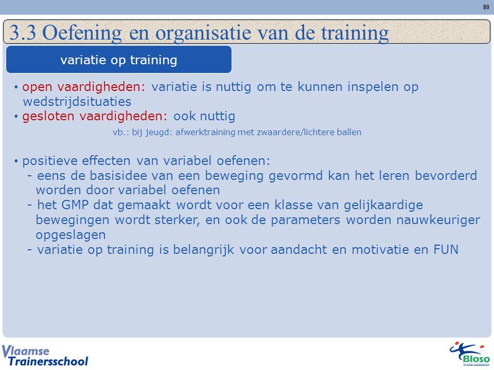 80 3.3 Oefening en organisatie van de training variatie op training open vaardigheden: variatie is nuttig om te kunnen inspelen op wedstrijdsituaties