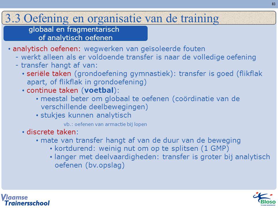 83 3.3 Oefening en organisatie van de training globaal en fragmentarisch of analytisch oefenen analytisch oefenen: wegwerken van geïsoleerde fouten -