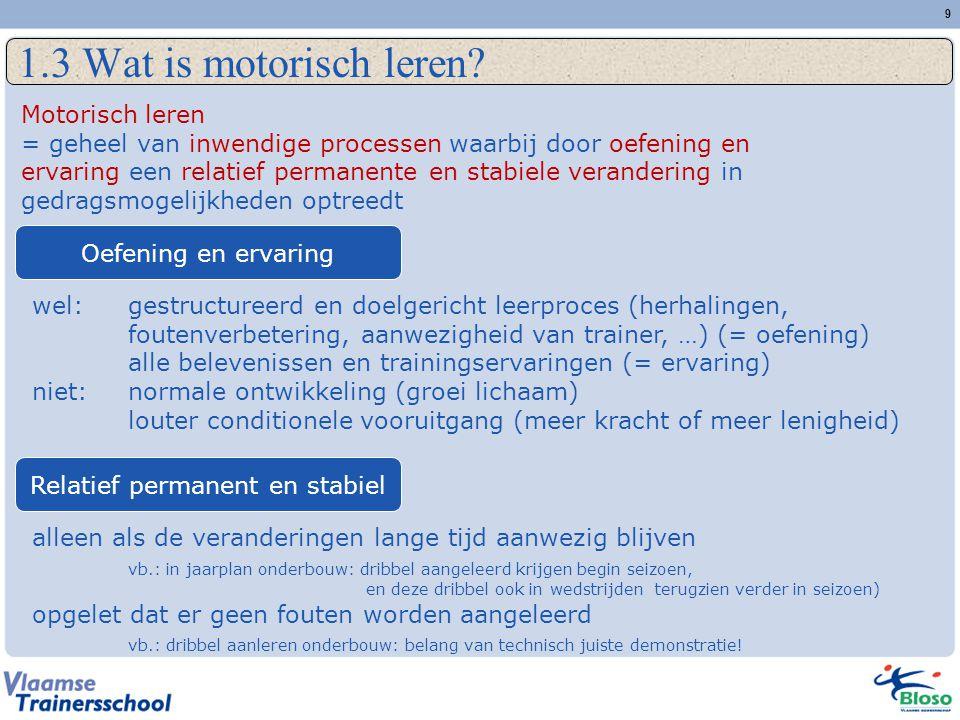 9 1.3 Wat is motorisch leren? Motorisch leren = geheel van inwendige processen waarbij door oefening en ervaring een relatief permanente en stabiele v