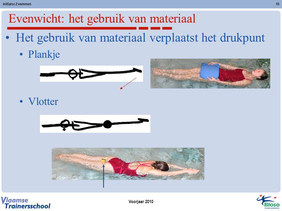 Voorjaar 2010 Initiator Zwemmen10 Het gebruik van materiaal verplaatst het drukpunt Plankje Vlotter Evenwicht: het gebruik van materiaal
