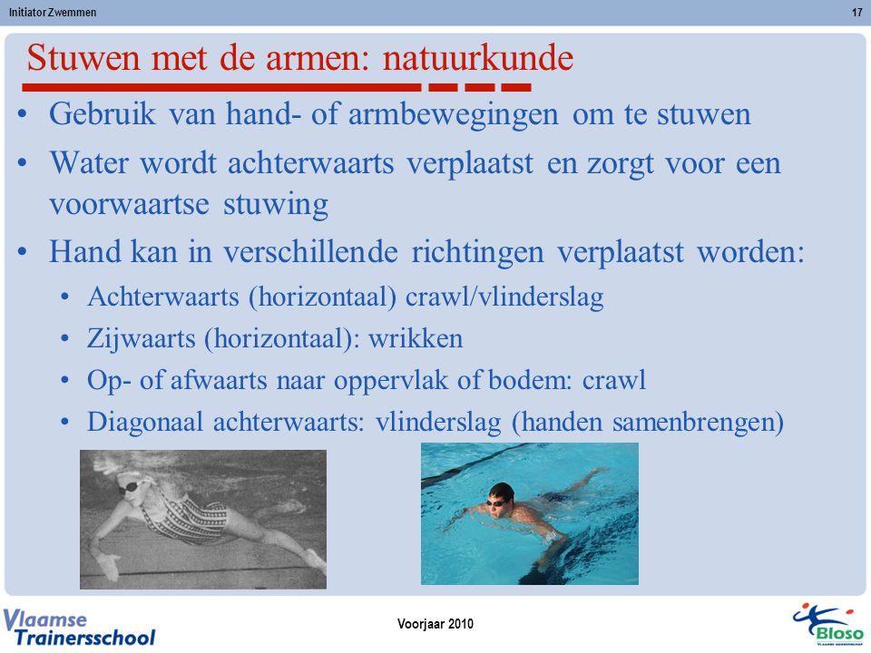 Voorjaar 2010 Initiator Zwemmen17 Stuwen met de armen: natuurkunde Gebruik van hand- of armbewegingen om te stuwen Water wordt achterwaarts verplaatst