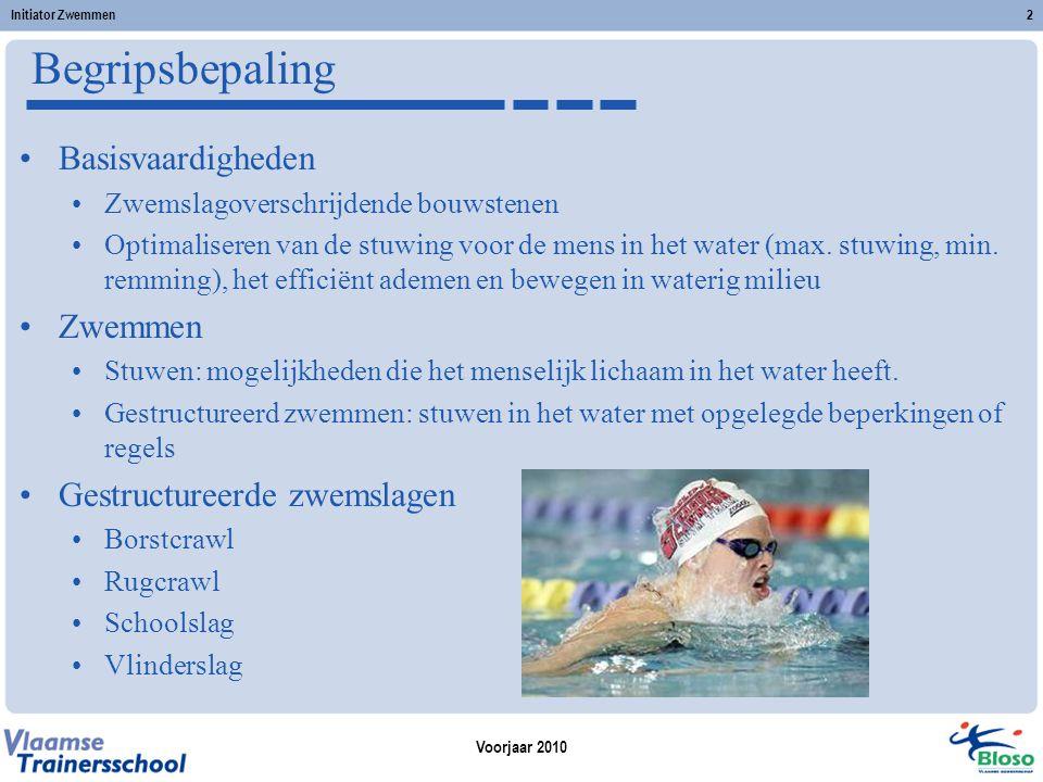 Voorjaar 2010 Initiator Zwemmen2 Begripsbepaling Basisvaardigheden Zwemslagoverschrijdende bouwstenen Optimaliseren van de stuwing voor de mens in het