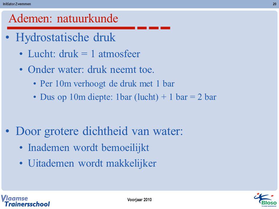 Voorjaar 2010 Initiator Zwemmen20 Ademen: natuurkunde Hydrostatische druk Lucht: druk = 1 atmosfeer Onder water: druk neemt toe. Per 10m verhoogt de d