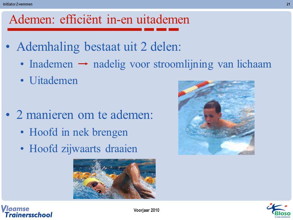 Voorjaar 2010 Initiator Zwemmen21 Ademen: efficiënt in-en uitademen Ademhaling bestaat uit 2 delen: Inademen nadelig voor stroomlijning van lichaam Ui