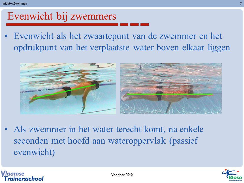 Voorjaar 2010 Initiator Zwemmen7 Evenwicht bij zwemmers Evenwicht als het zwaartepunt van de zwemmer en het opdrukpunt van het verplaatste water boven