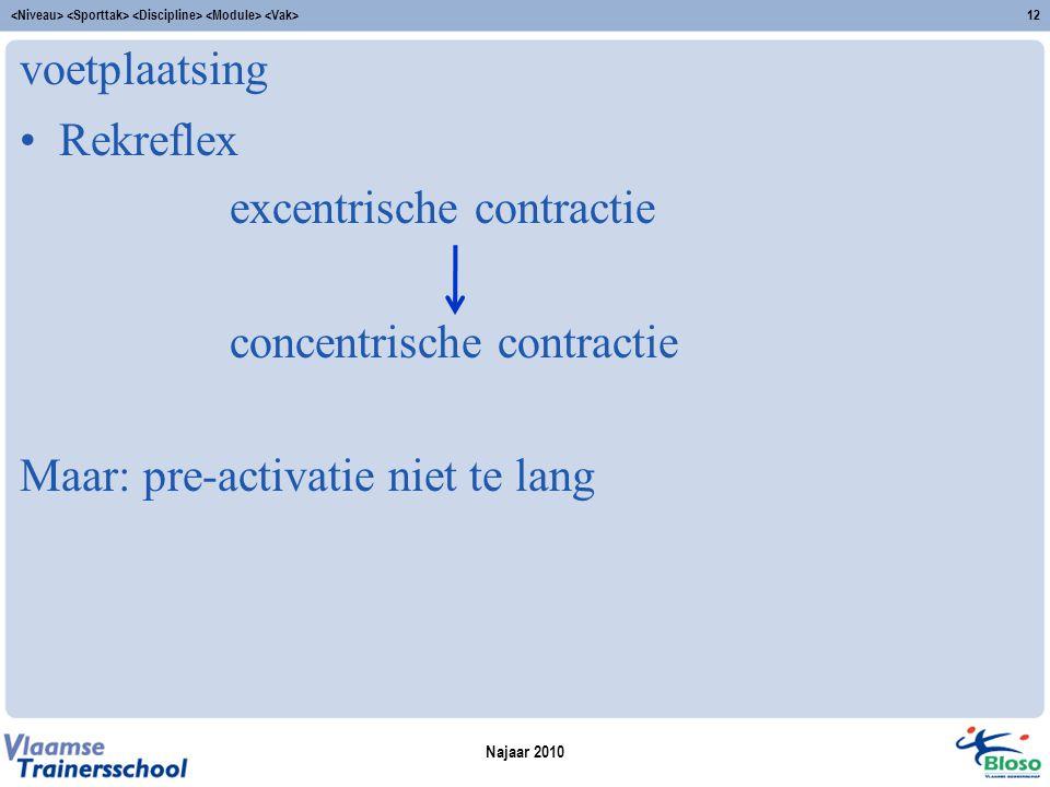 voetplaatsing Rekreflex excentrische contractie concentrische contractie Maar: pre-activatie niet te lang Najaar 2010 12