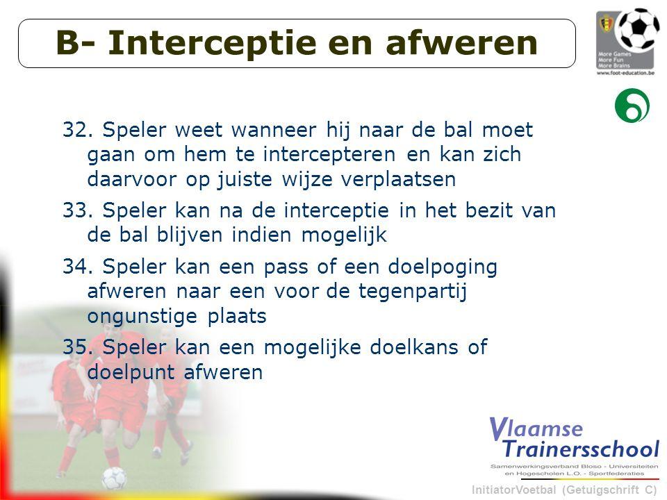InitiatorVoetbal (Getuigschrift C) B- Interceptie en afweren 32.