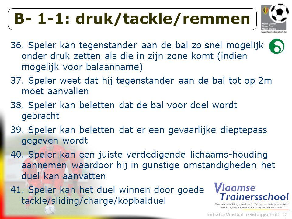 InitiatorVoetbal (Getuigschrift C) B- 1-1: druk/tackle/remmen 36.