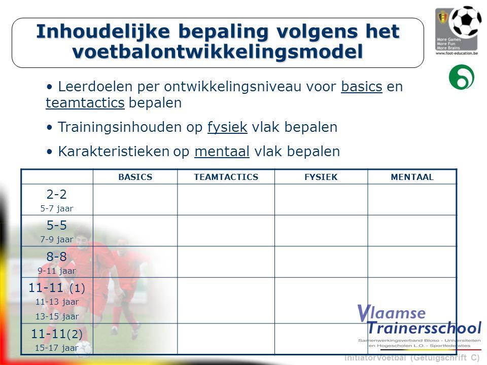 InitiatorVoetbal (Getuigschrift C) Inhoudelijke bepaling volgens het voetbalontwikkelingsmodel BASICSTEAMTACTICSFYSIEKMENTAAL 2-2 5-7 jaar 5-5 7-9 jaar 8-8 9-11 jaar 11-11 (1) 11-13 jaar 13-15 jaar 11-11 (2) 15-17 jaar Leerdoelen per ontwikkelingsniveau voor basics en teamtactics bepalen Trainingsinhouden op fysiek vlak bepalen Karakteristieken op mentaal vlak bepalen
