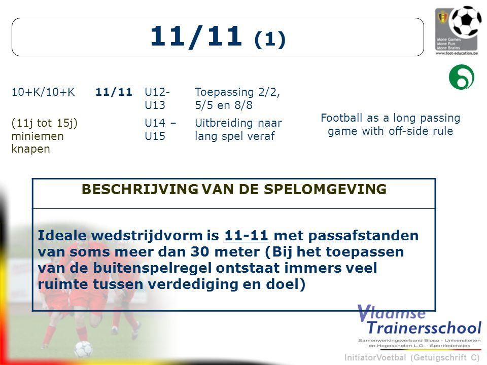 InitiatorVoetbal (Getuigschrift C) 11/11 (1) 10+K/10+K11/11U12- U13 Toepassing 2/2, 5/5 en 8/8 Football as a long passing game with off-side rule (11j tot 15j) miniemen knapen U14 – U15 Uitbreiding naar lang spel veraf BESCHRIJVING VAN DE SPELOMGEVING Ideale wedstrijdvorm is 11-11 met passafstanden van soms meer dan 30 meter (Bij het toepassen van de buitenspelregel ontstaat immers veel ruimte tussen verdediging en doel)