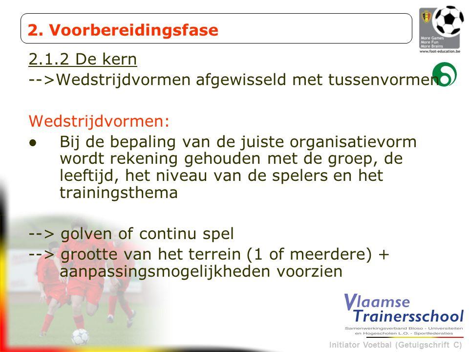 Initiator Voetbal (Getuigschrift C) 2.1.2 De kern -->Wedstrijdvormen afgewisseld met tussenvormen Wedstrijdvormen: Bij de bepaling van de juiste organ