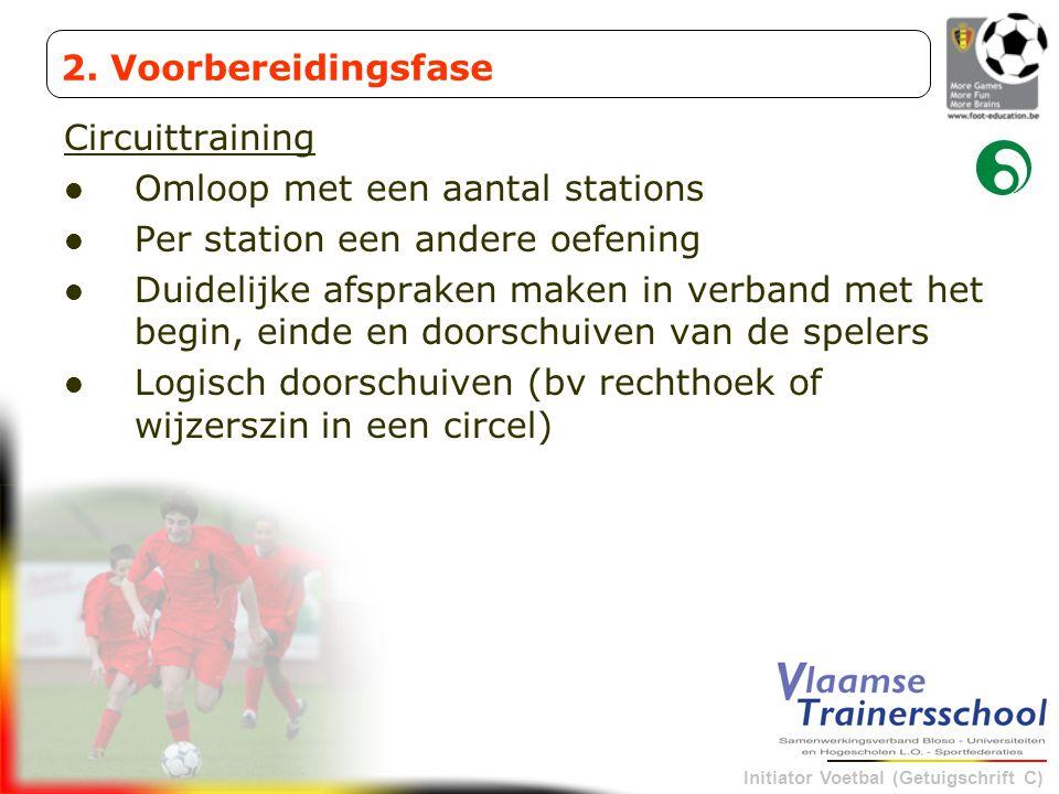 Initiator Voetbal (Getuigschrift C) Circuittraining Omloop met een aantal stations Per station een andere oefening Duidelijke afspraken maken in verba