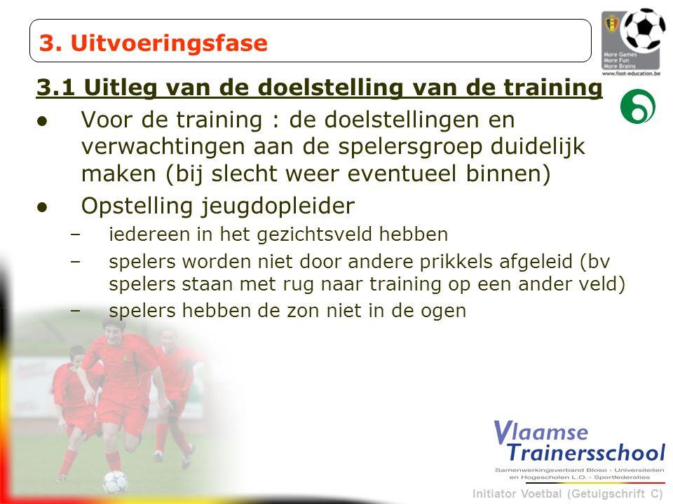 Initiator Voetbal (Getuigschrift C) 3.1 Uitleg van de doelstelling van de training Voor de training : de doelstellingen en verwachtingen aan de speler