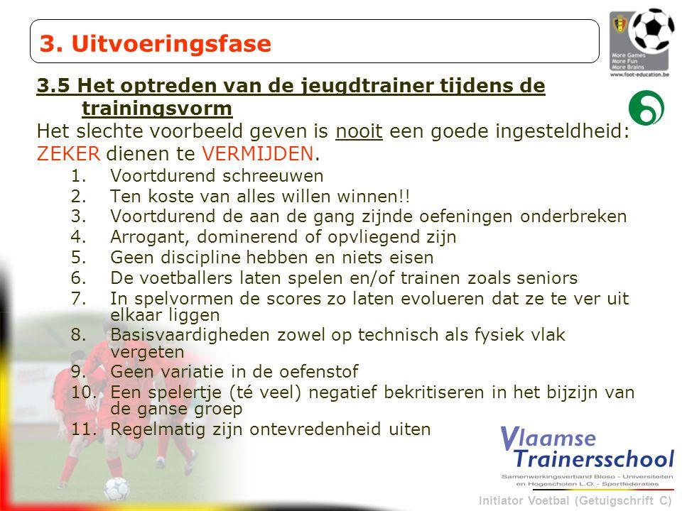 Initiator Voetbal (Getuigschrift C) 3.5 Het optreden van de jeugdtrainer tijdens de trainingsvorm Het slechte voorbeeld geven is nooit een goede inges