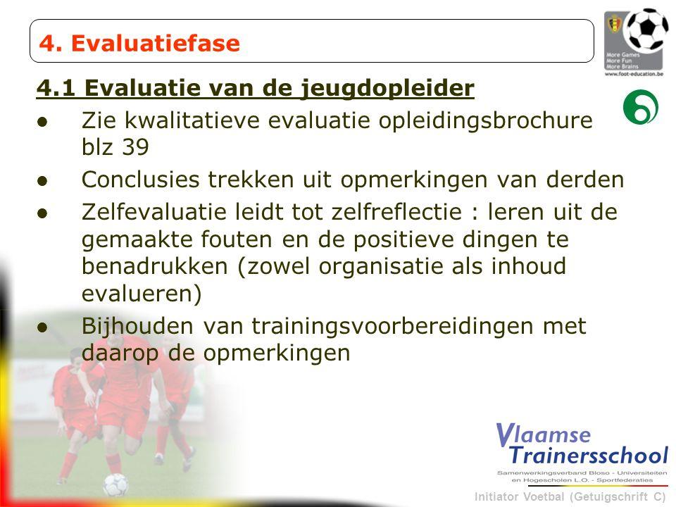 Initiator Voetbal (Getuigschrift C) 4.1 Evaluatie van de jeugdopleider Zie kwalitatieve evaluatie opleidingsbrochure blz 39 Conclusies trekken uit opm