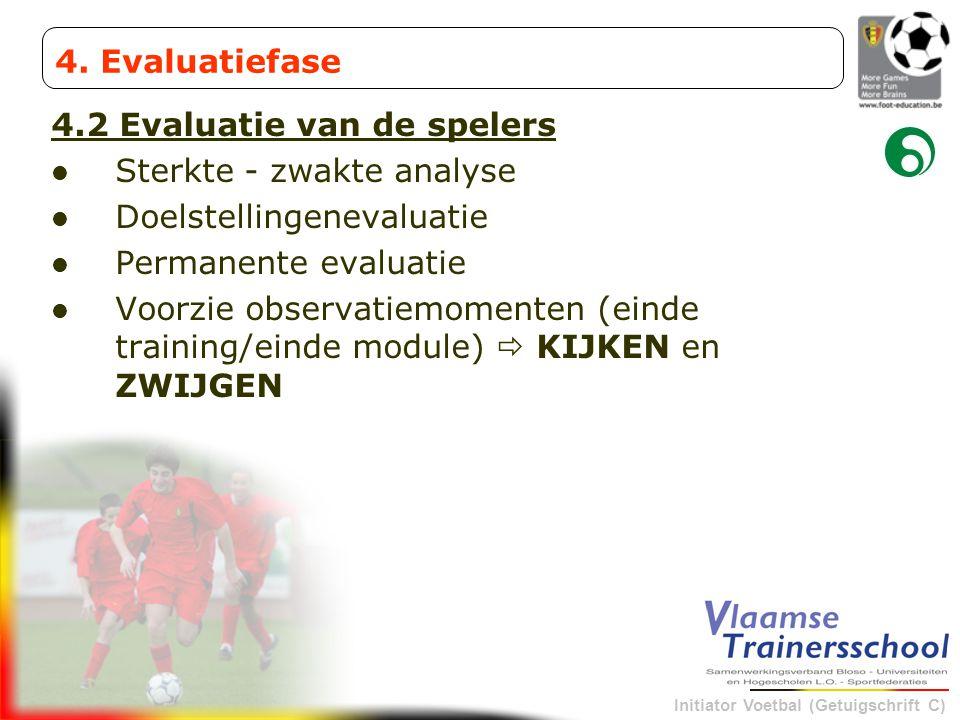Initiator Voetbal (Getuigschrift C) 4.2 Evaluatie van de spelers Sterkte - zwakte analyse Doelstellingenevaluatie Permanente evaluatie Voorzie observa
