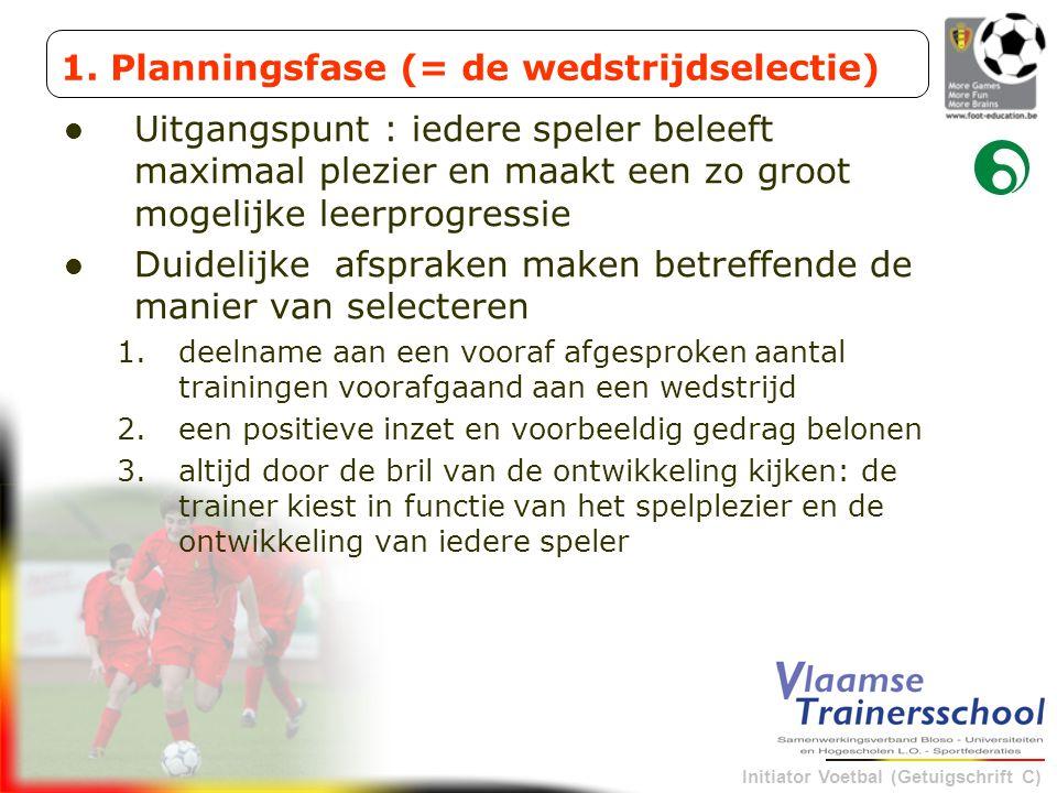 Initiator Voetbal (Getuigschrift C) Uitgangspunt : iedere speler beleeft maximaal plezier en maakt een zo groot mogelijke leerprogressie Duidelijke af