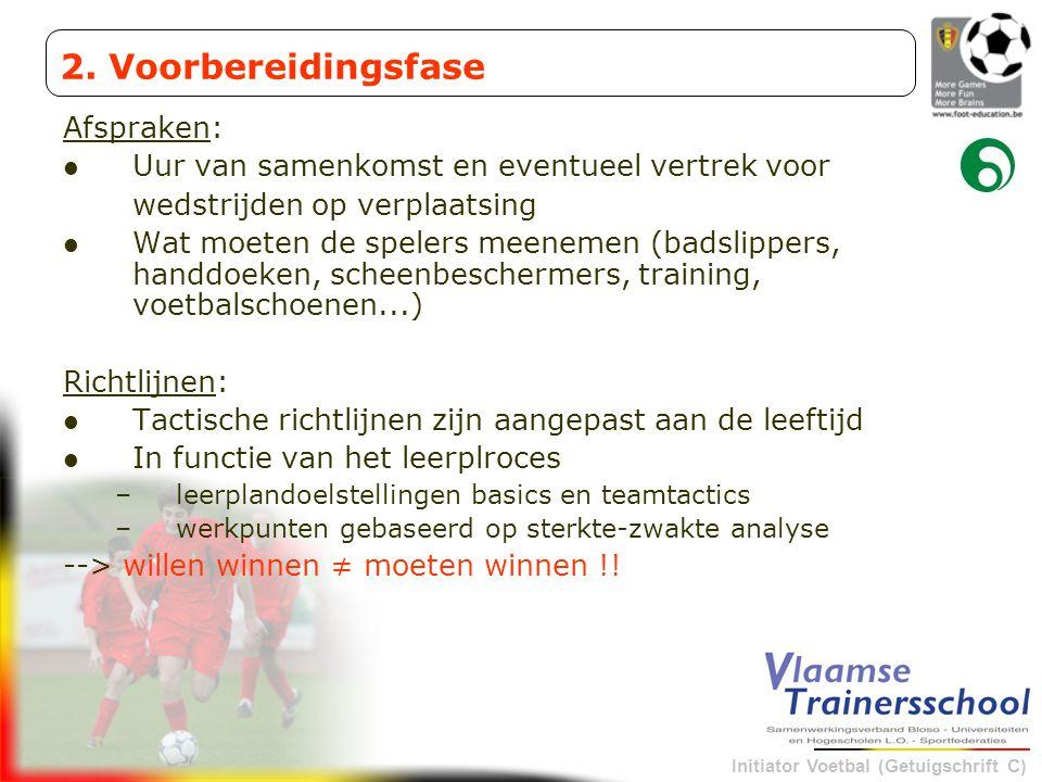 Initiator Voetbal (Getuigschrift C) Afspraken: Uur van samenkomst en eventueel vertrek voor wedstrijden op verplaatsing Wat moeten de spelers meenemen