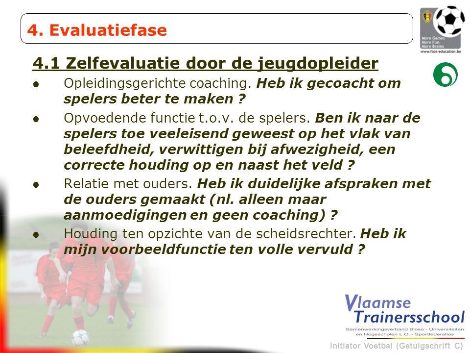 Initiator Voetbal (Getuigschrift C) 4.1 Zelfevaluatie door de jeugdopleider Opleidingsgerichte coaching. Heb ik gecoacht om spelers beter te maken ? O