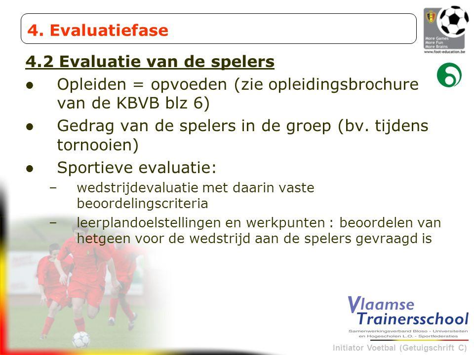 Initiator Voetbal (Getuigschrift C) 4.2 Evaluatie van de spelers Opleiden = opvoeden (zie opleidingsbrochure van de KBVB blz 6) Gedrag van de spelers